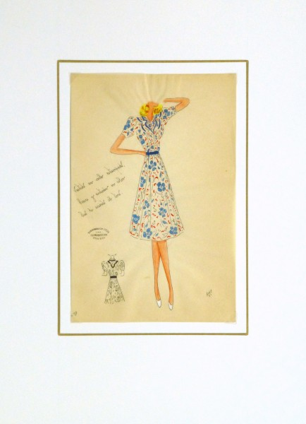Gouache & Ink Fashion Sketch - Floral Day Dress, Circa 1950-matted-10505M