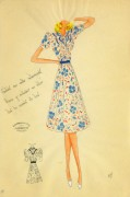 Gouache & Ink Fashion Sketch - Floral Day Dress, Circa 1950-main-10505M