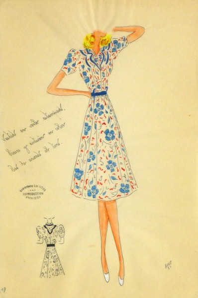 Gouache & Ink Fashion Sketch - Floral Day Dress, Circa 1950-main-10505M