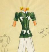 Gouache & Ink Fashion Sketch - Green Pocket Blouse, Circa 1950-detail 2-10506M