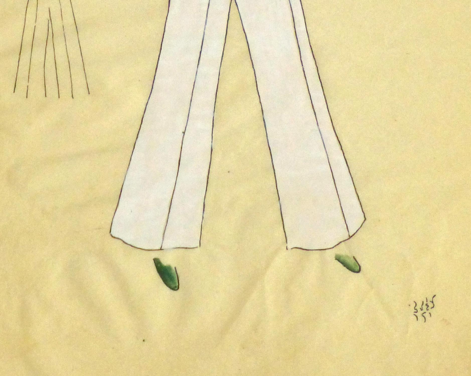 Gouache & Ink Fashion Sketch - Green Pocket Blouse, Circa 1950-detail-10506M