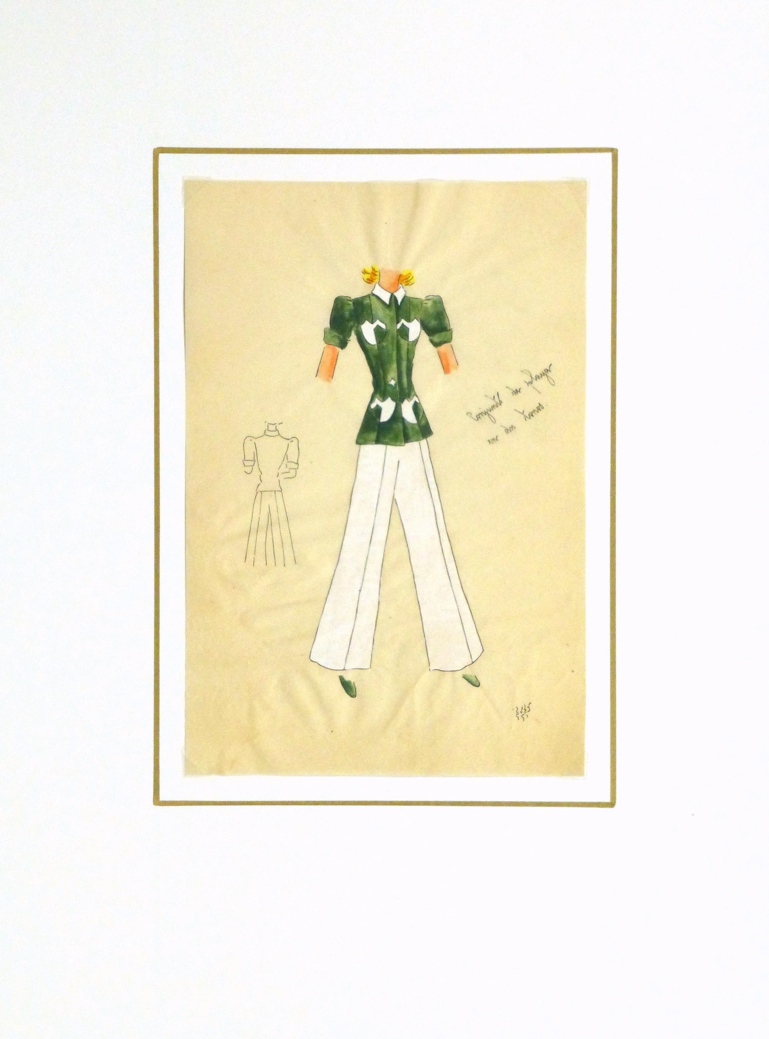 Gouache & Ink Fashion Sketch - Green Pocket Blouse, Circa 1950-matted-10506M