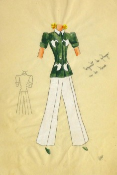 Gouache & Ink Fashion Sketch - Green Pocket Blouse, Circa 1950-main-10506M