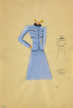 Gouache & Ink Fashion Sketch - Periwinkle Dress Suit, Circa 1950-main-10507M