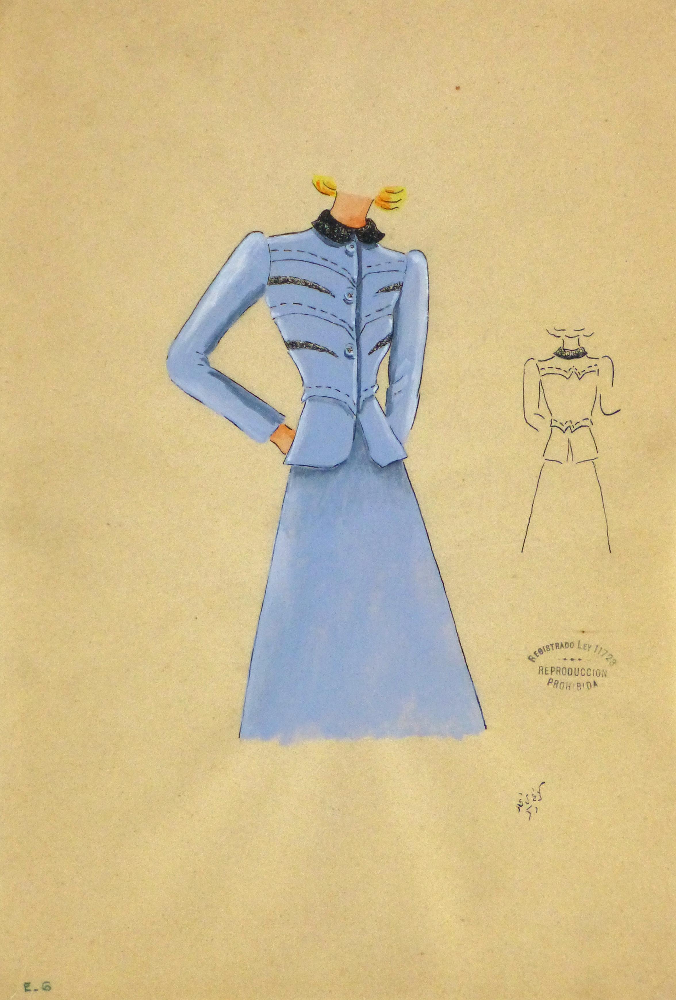 Gouache & Ink Fashion Sketch - Periwinkle Dress Suit, Circa 1950-main-10507M