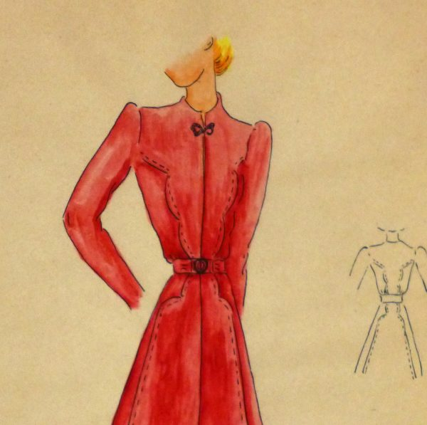 Gouache & Ink Fashion Sketch - Long Sleeve Red Dress , Circa 1950-detail 2-10508M
