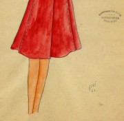 Gouache & Ink Fashion Sketch - Long Sleeve Red Dress , Circa 1950-detail-10508M