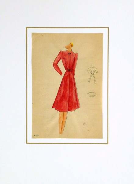 Gouache & Ink Fashion Sketch - Long Sleeve Red Dress , Circa 1950-matted-10508M