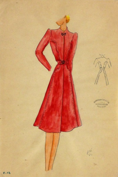 Gouache & Ink Fashion Sketch - Long Sleeve Red Dress , Circa 1950-main-10508M