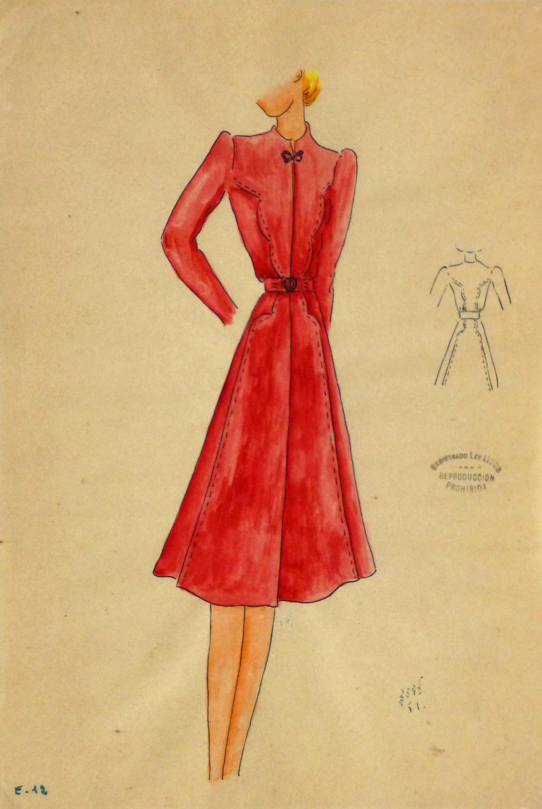 Gouache & Ink Fashion Sketch - Long Sleeve Red Dress , Circa 1950-main-10508M