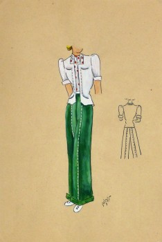 Gouache & Ink Fashion Sketch - Green Slacks, Circa 1950-main-10509M