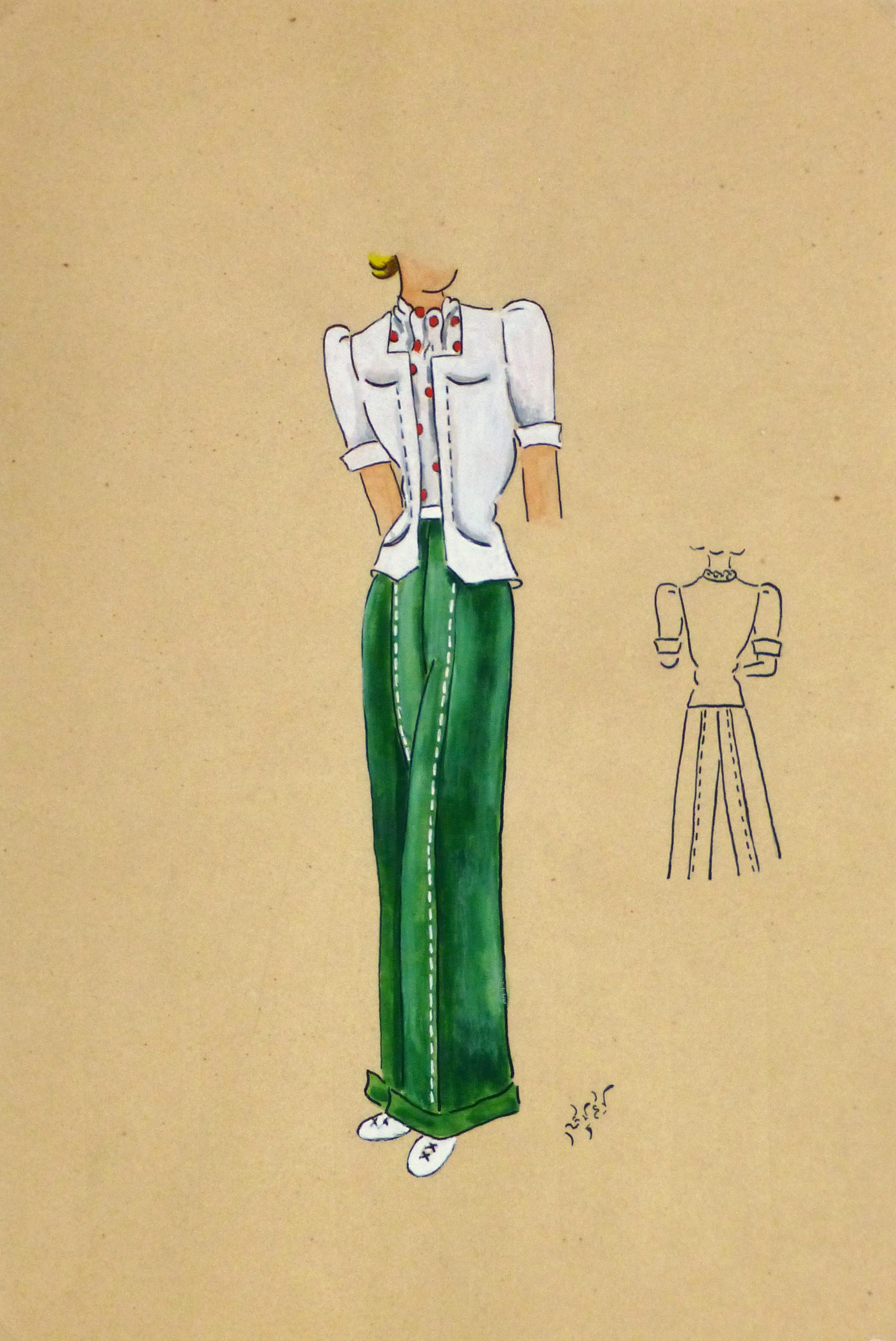 Gouache & Ink Fashion Sketch - Green Slacks, Circa 1950-main-10509M