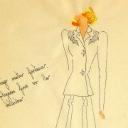 Gouache & Ink Fashion Sketch - Dress Suit, Circa 1950-detail 2-10510M