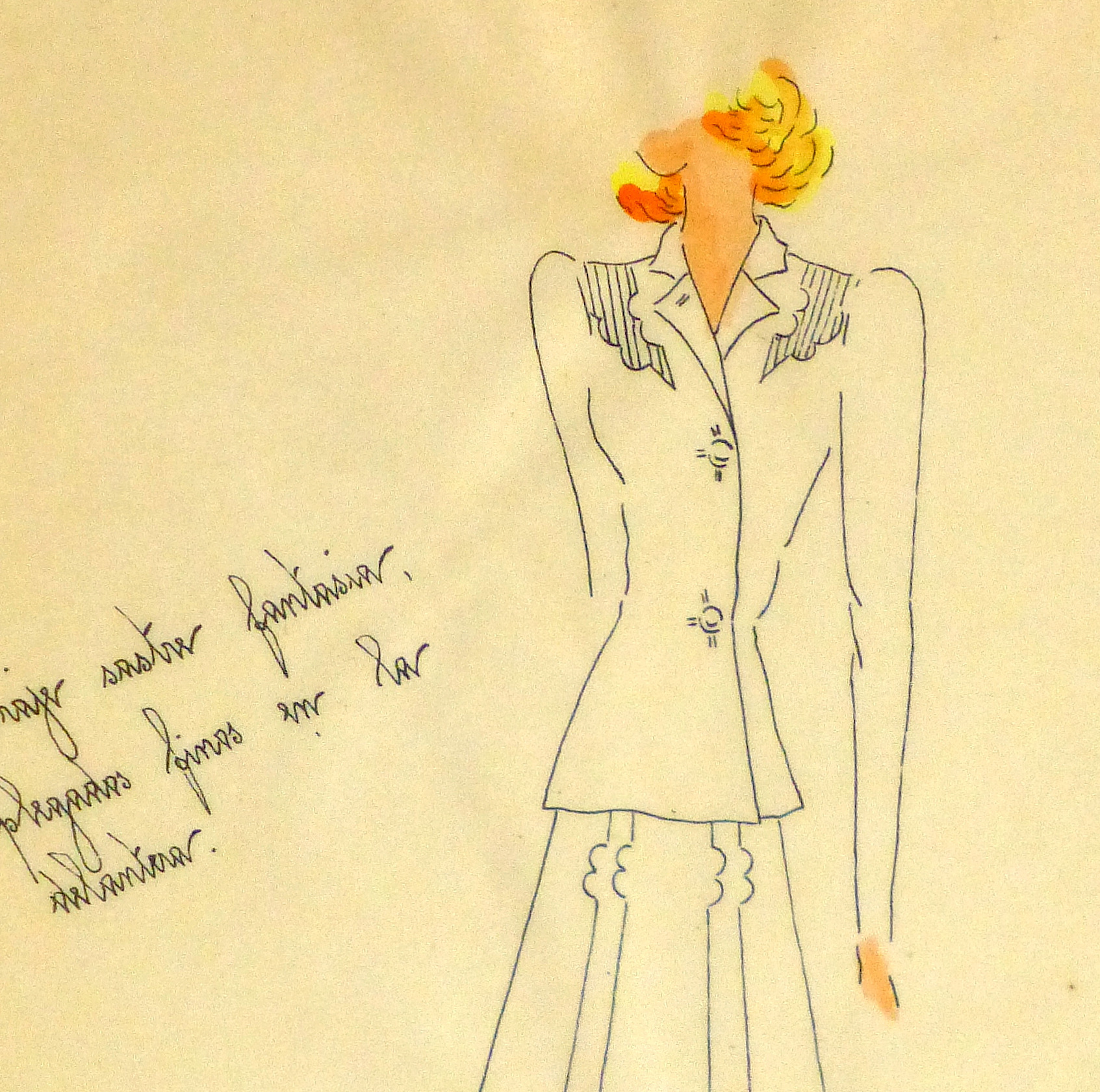 Gouache & Ink Fashion Sketch - Dress Suit, Circa 1950-detail 2-10510M