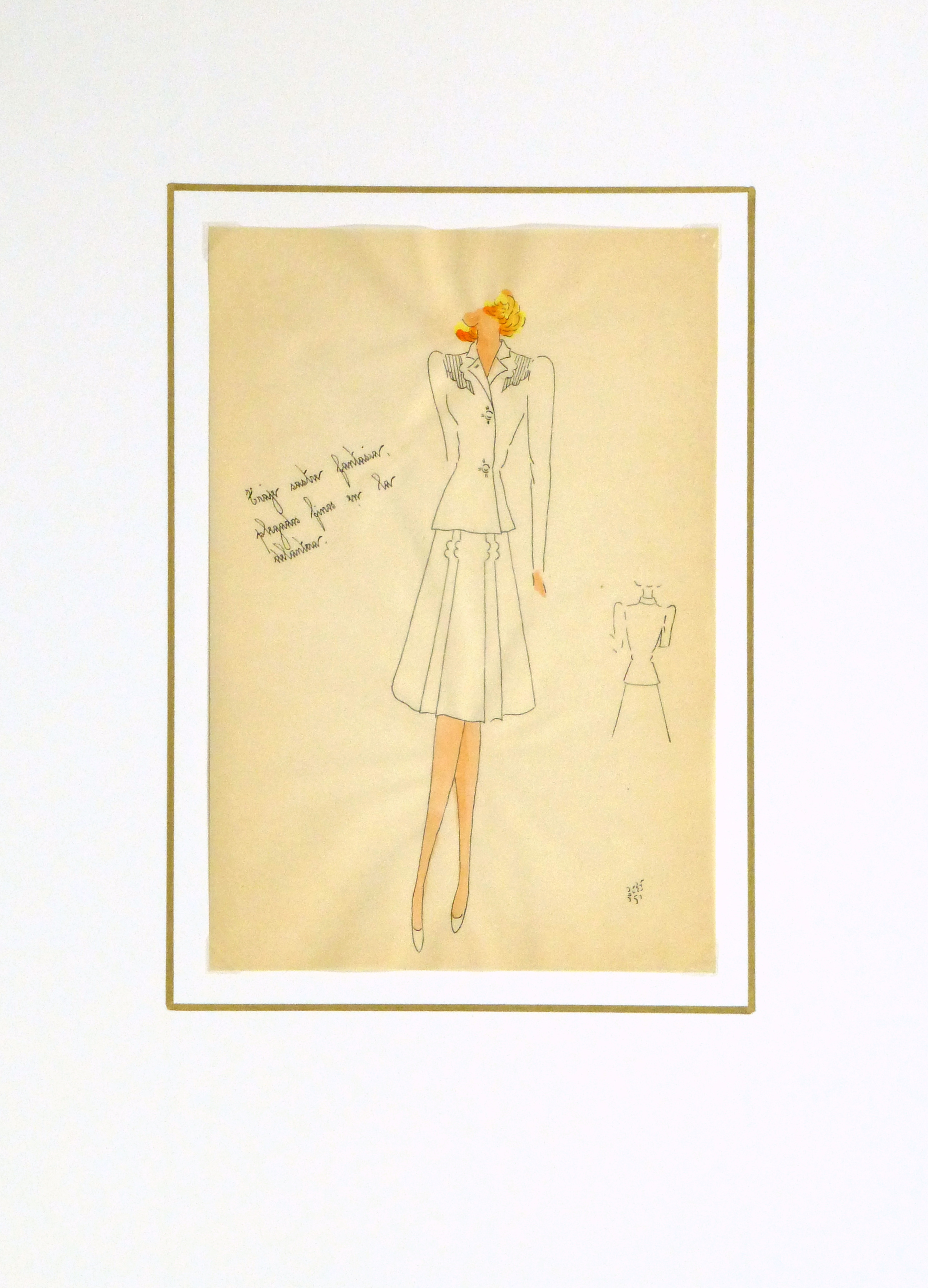 Gouache & Ink Fashion Sketch - Dress Suit, Circa 1950-matted-10510M