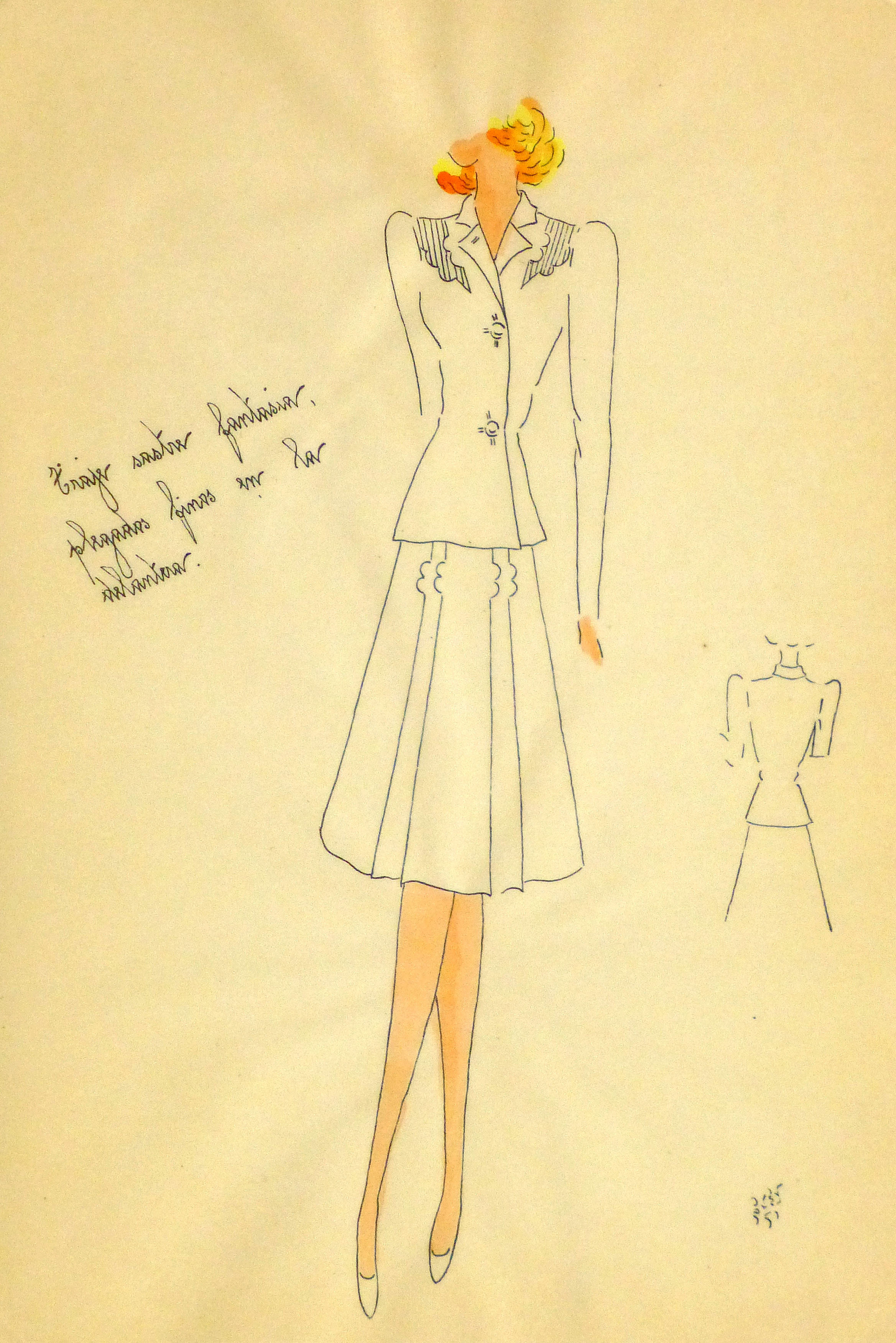 Gouache & Ink Fashion Sketch - Dress Suit, Circa 1950-main-10510M