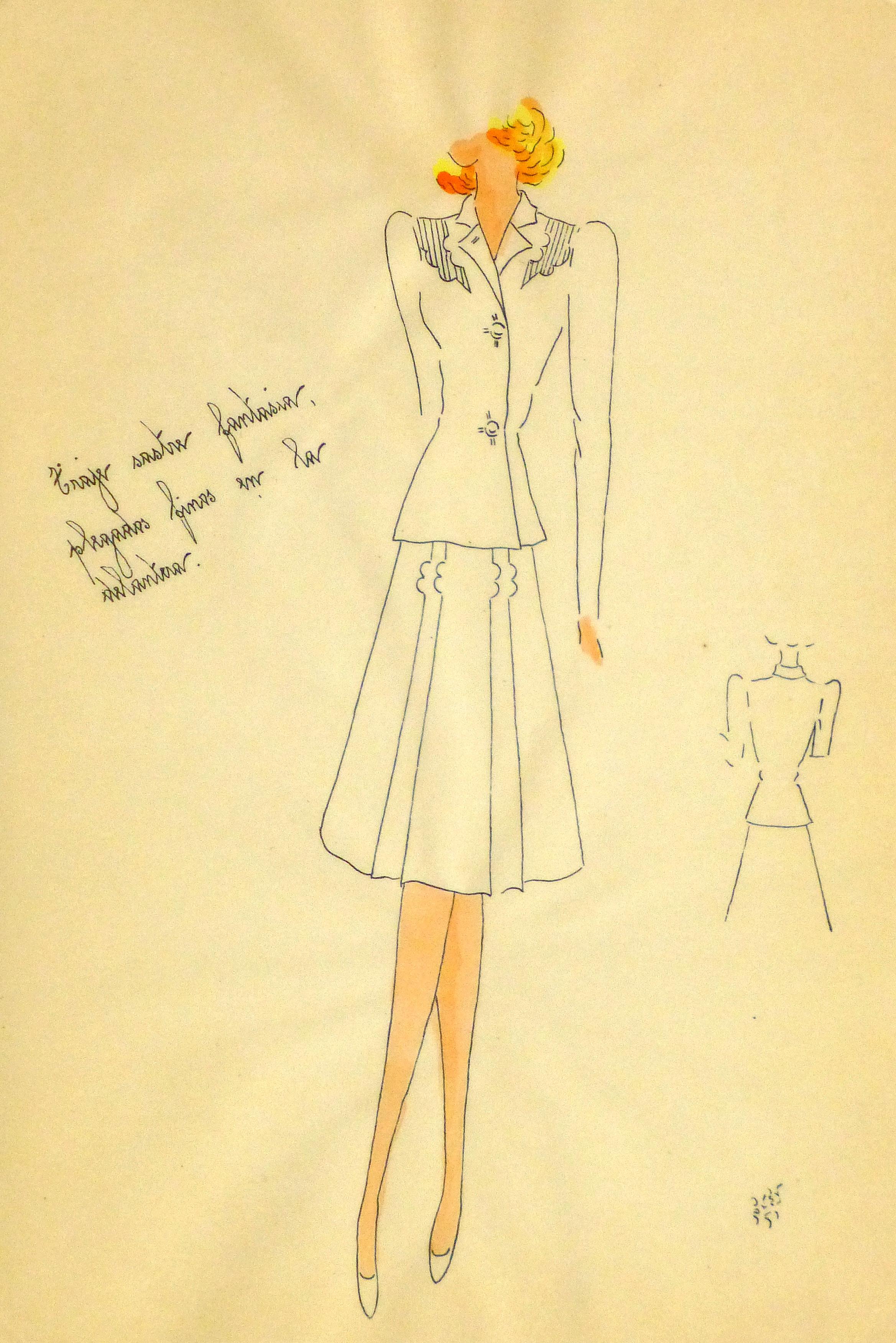 Gouache & Ink Fashion Sketch - Dress Suit, Circa 1950-main-10510M