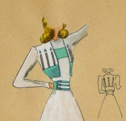 Gouache & Ink Fashion Sketch - Dress & Bolero, Circa 1950-detail 2-10511M