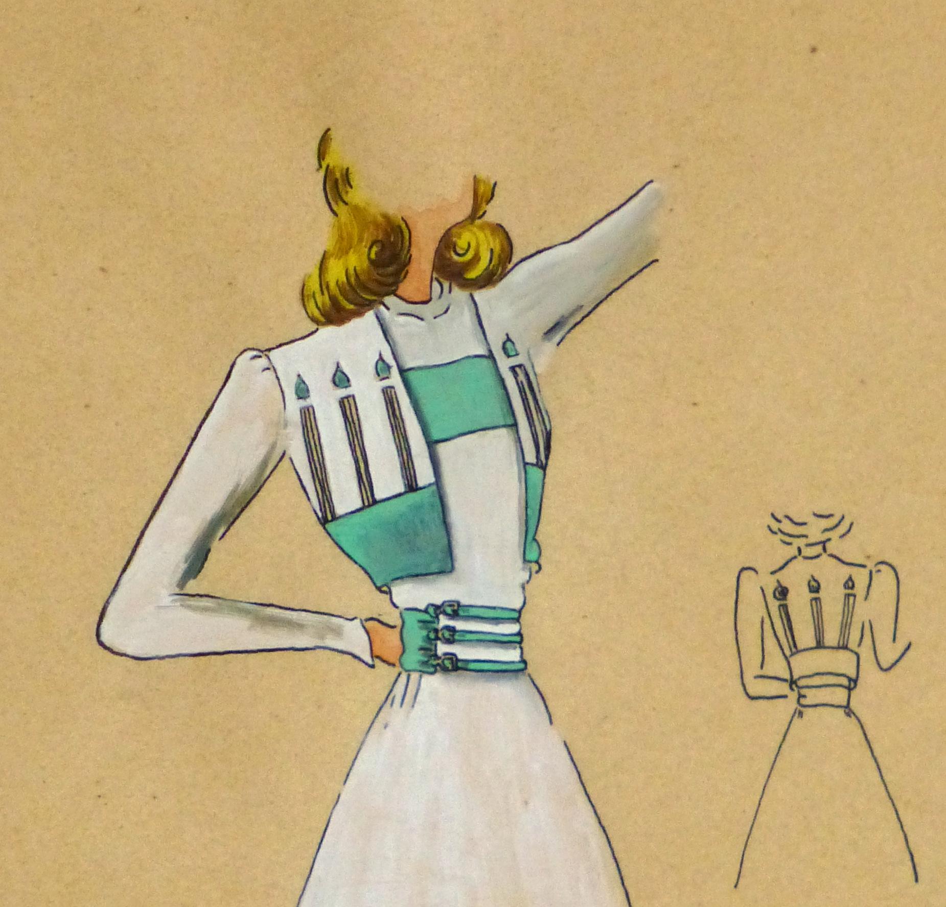 Gouache & Ink Fashion Sketch - Dress & Bolero, Circa 1950-detail 2-10511M
