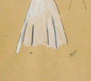 Gouache & Ink Fashion Sketch - Dress & Bolero, Circa 1950-detail-10511M