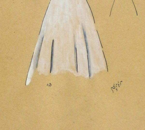 Gouache & Ink Fashion Sketch - Dress & Bolero, Circa 1950-detail-10511M