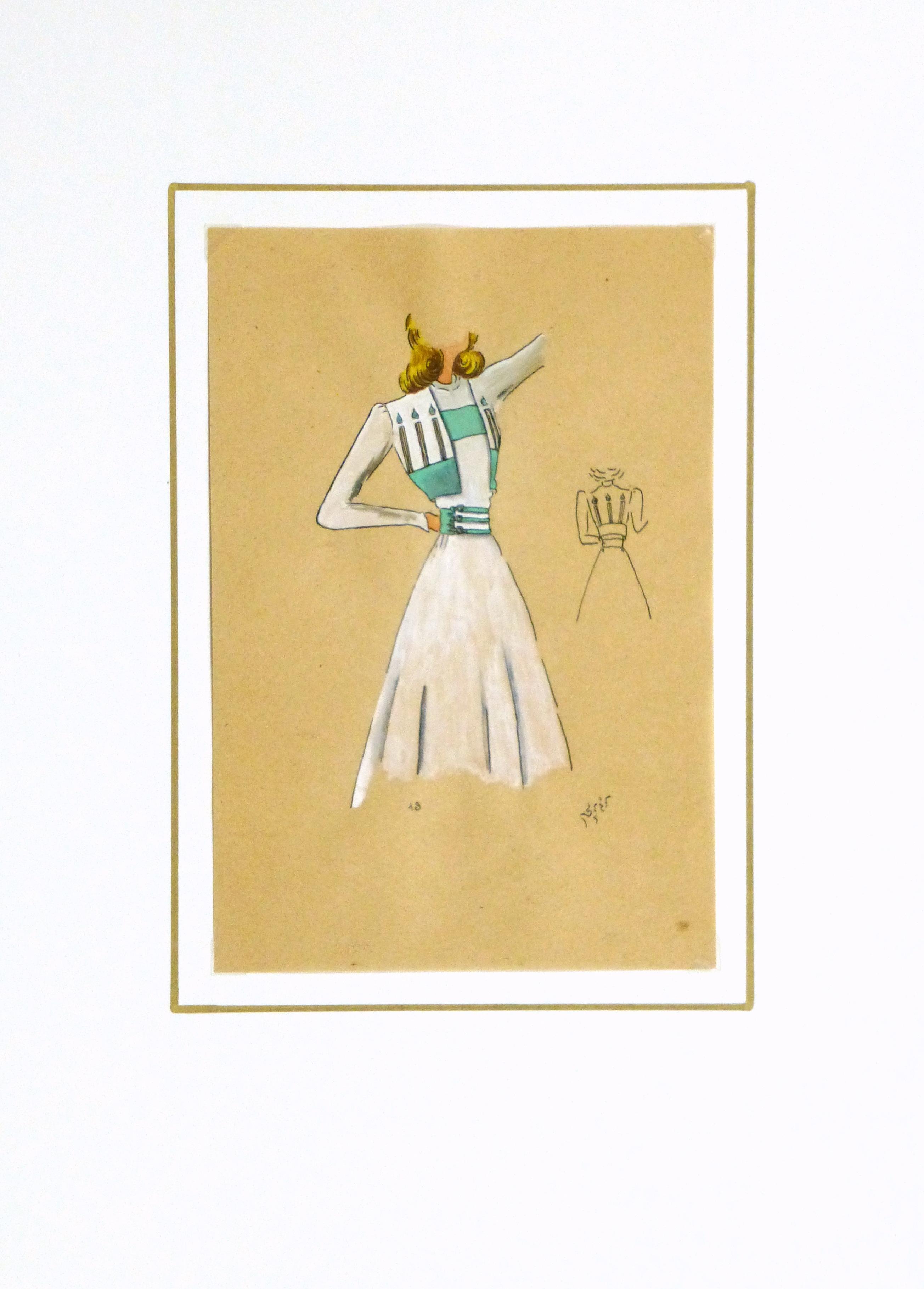 Gouache & Ink Fashion Sketch - Dress & Bolero, Circa 1950-matted-10511M