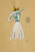 Gouache & Ink Fashion Sketch - Dress & Bolero, Circa 1950-main-10511M