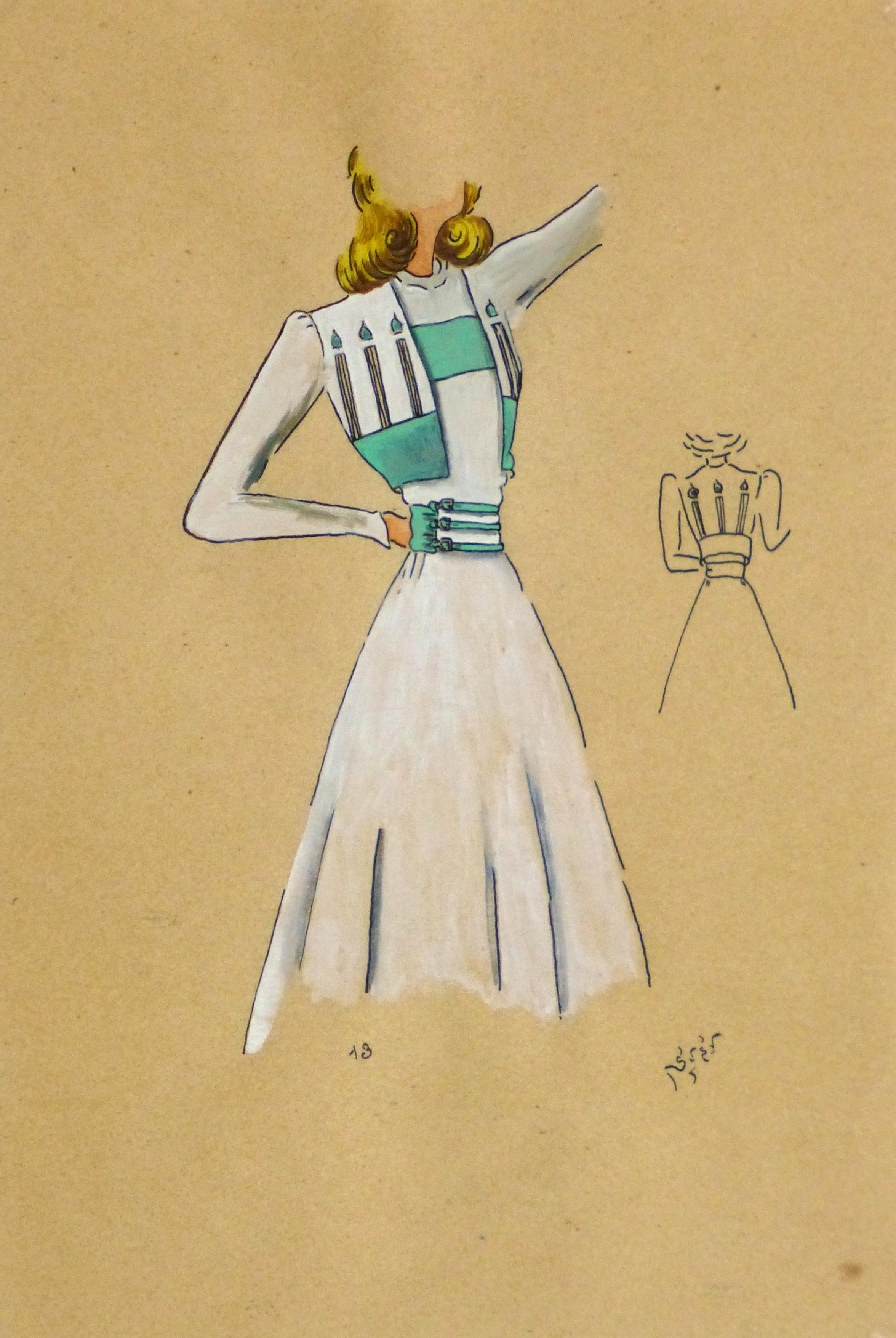 Gouache & Ink Fashion Sketch - Dress & Bolero, Circa 1950-main-10511M