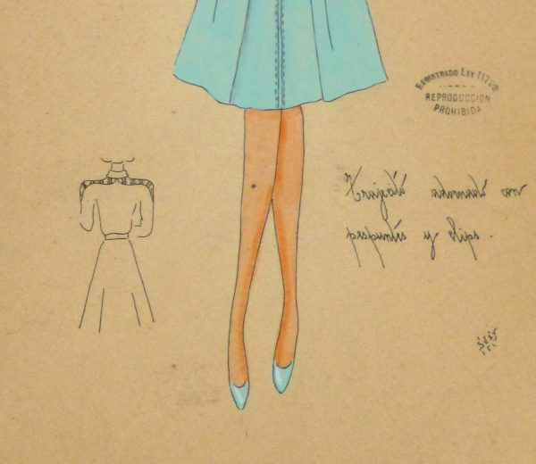 Gouache & Ink Fashion Sketch - Long Sleeve Aqua Dress, Circa 1950-detail-10512M