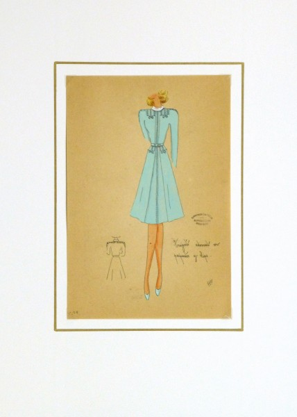 Gouache & Ink Fashion Sketch - Long Sleeve Aqua Dress, Circa 1950-matted-10512M