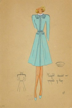 Gouache & Ink Fashion Sketch - Long Sleeve Aqua Dress, Circa 1950-main-10512M