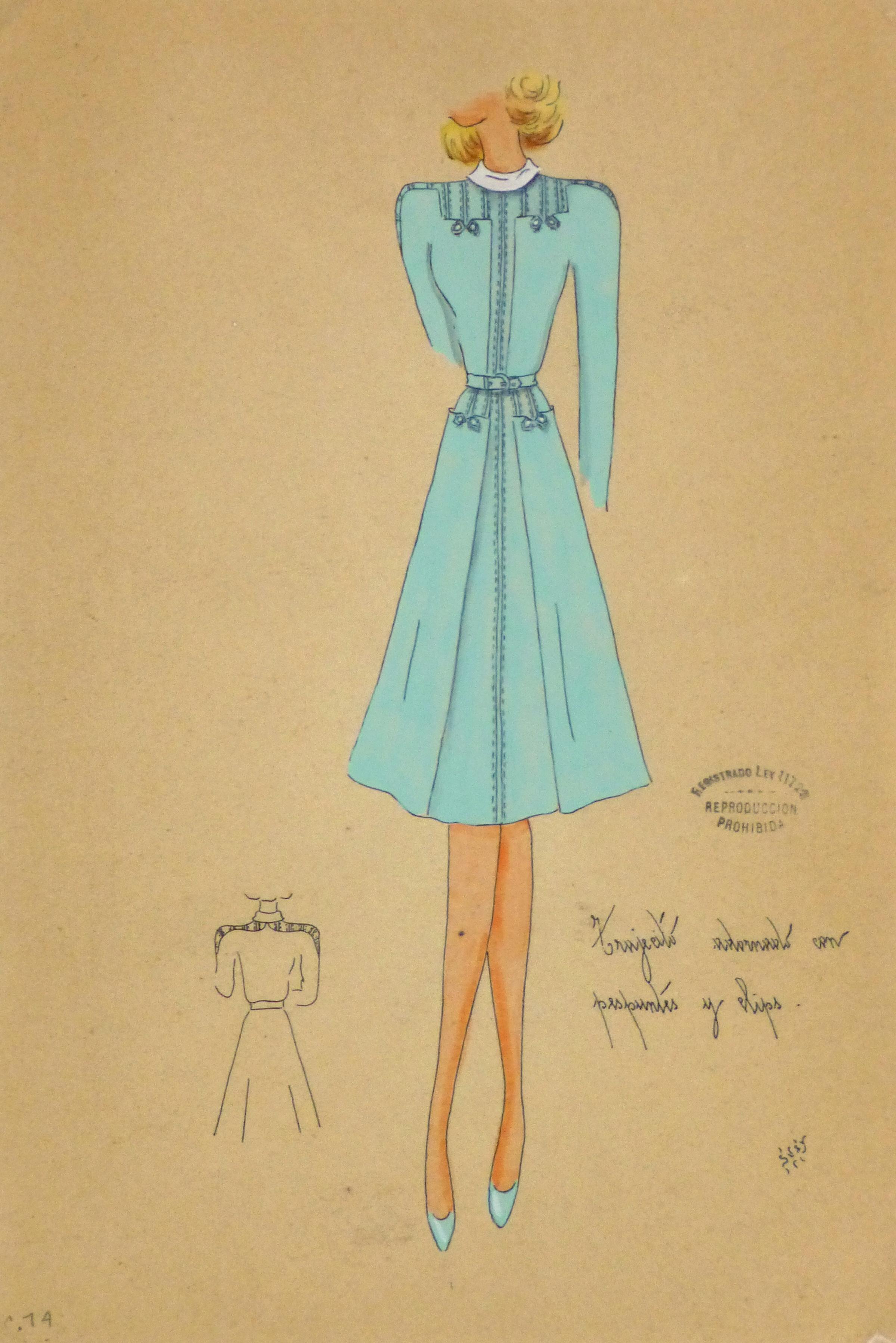 Gouache & Ink Fashion Sketch - Long Sleeve Aqua Dress, Circa 1950-main-10512M