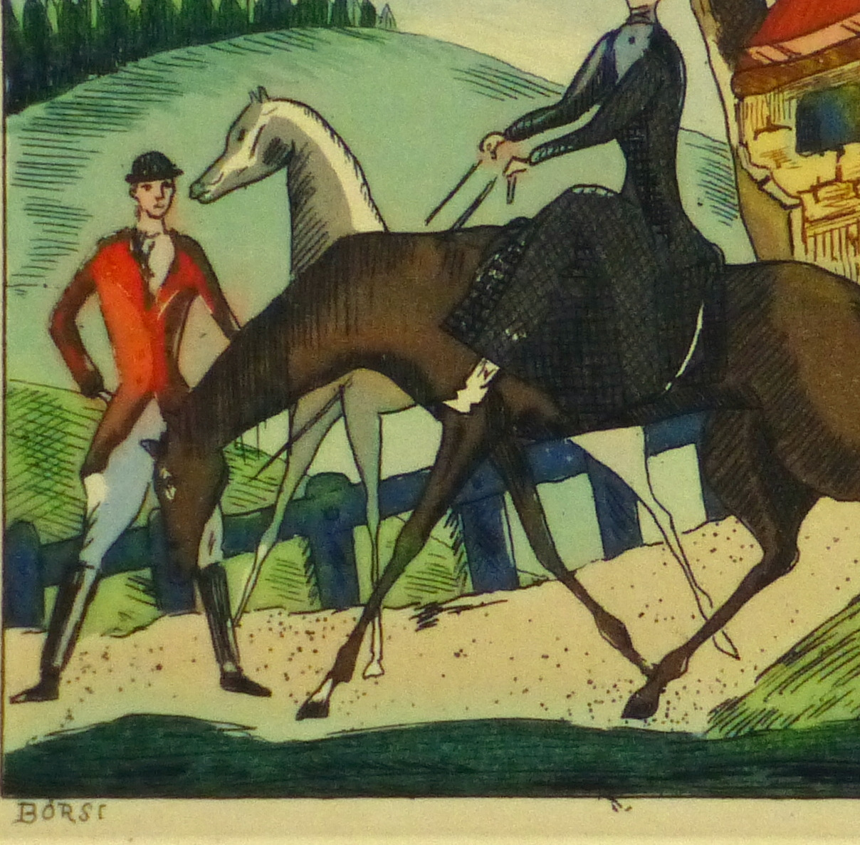 Etching- The Hunting Party, Circa 1920-detail 2-10528M