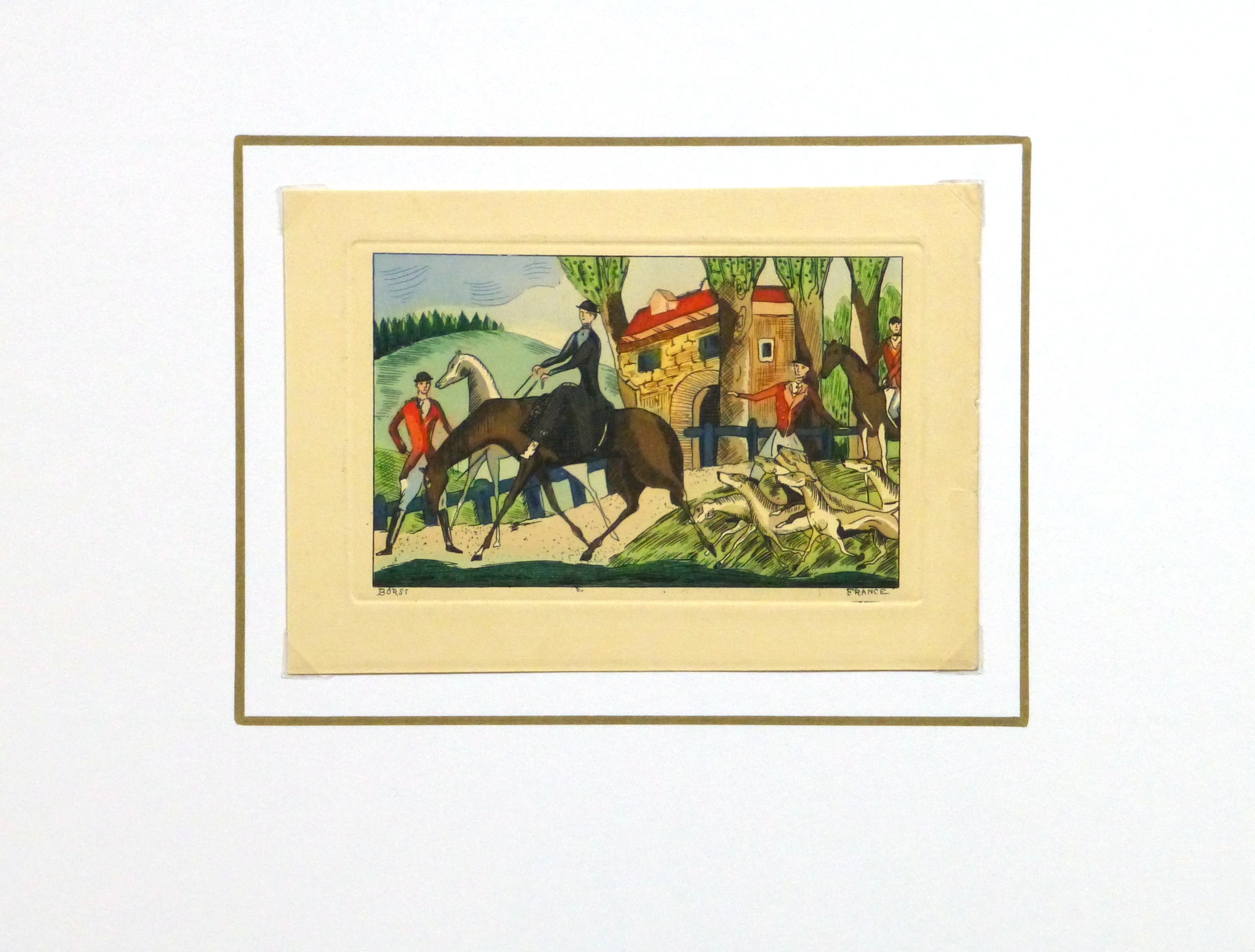 Etching- The Hunting Party, Circa 1920-matted-10528M