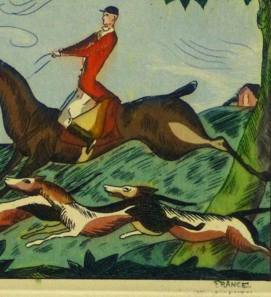 Etching- The Pursuit, Circa 1920-detail 2-10529M