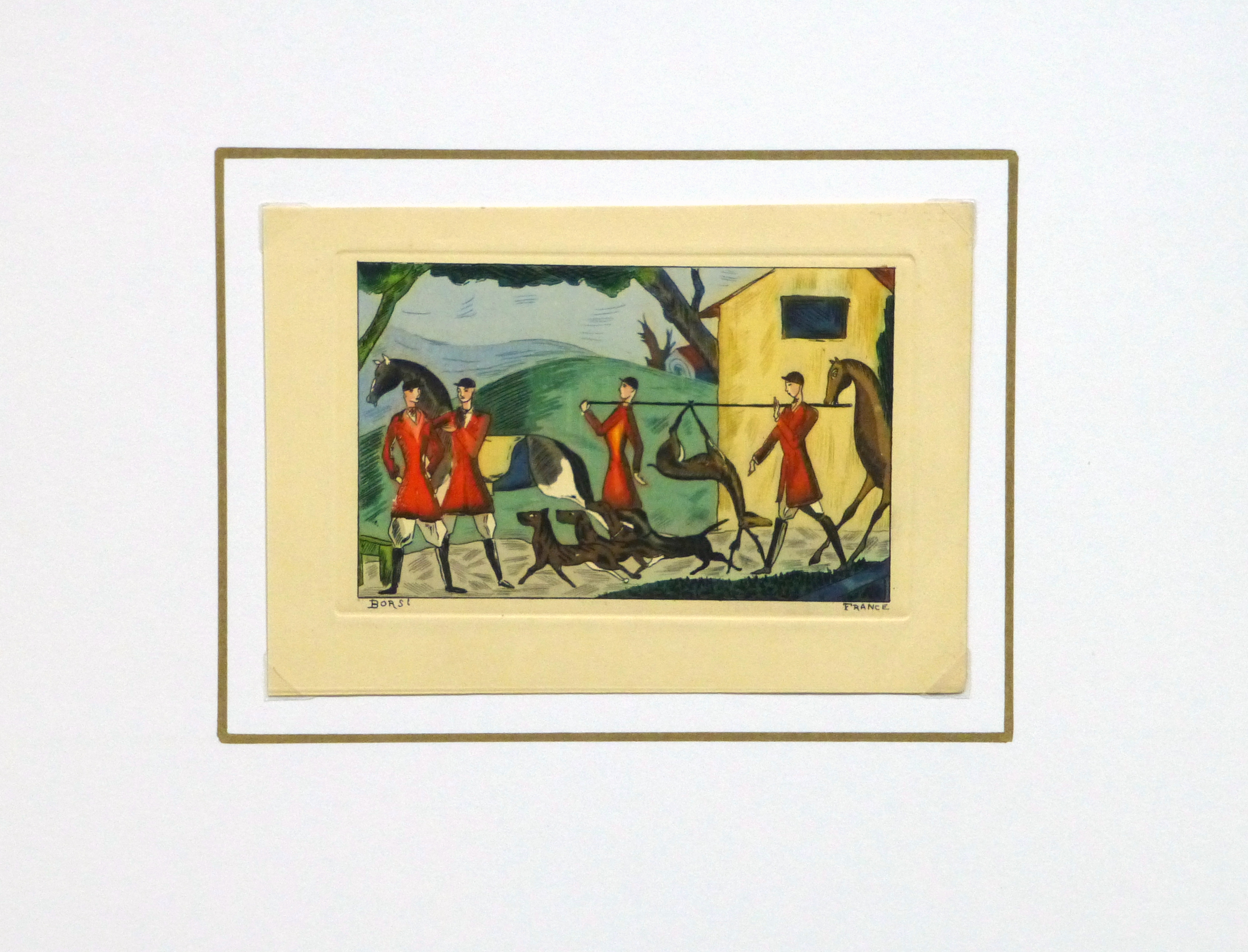 Etching- After the Hunt, Circa 1920-matted-10530M