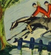 Etching- English Hunters, Circa 1920-detail 2-10531M