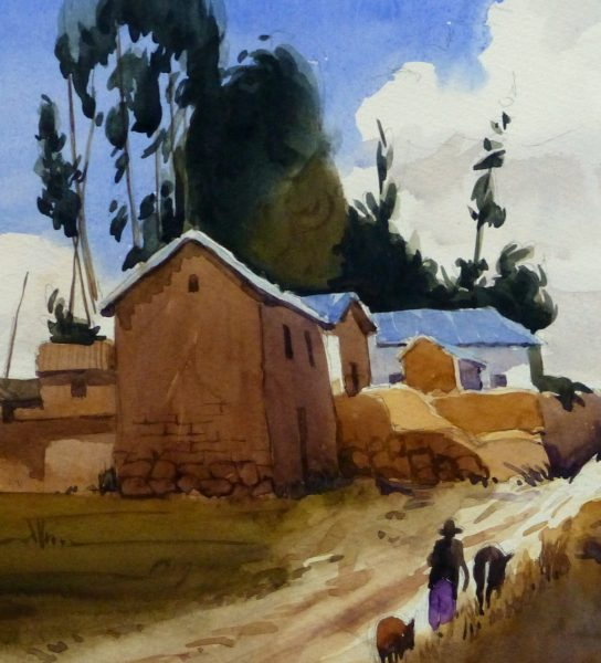 Watercolor Landscape - Rural Village, 2011-detail 2-10532M