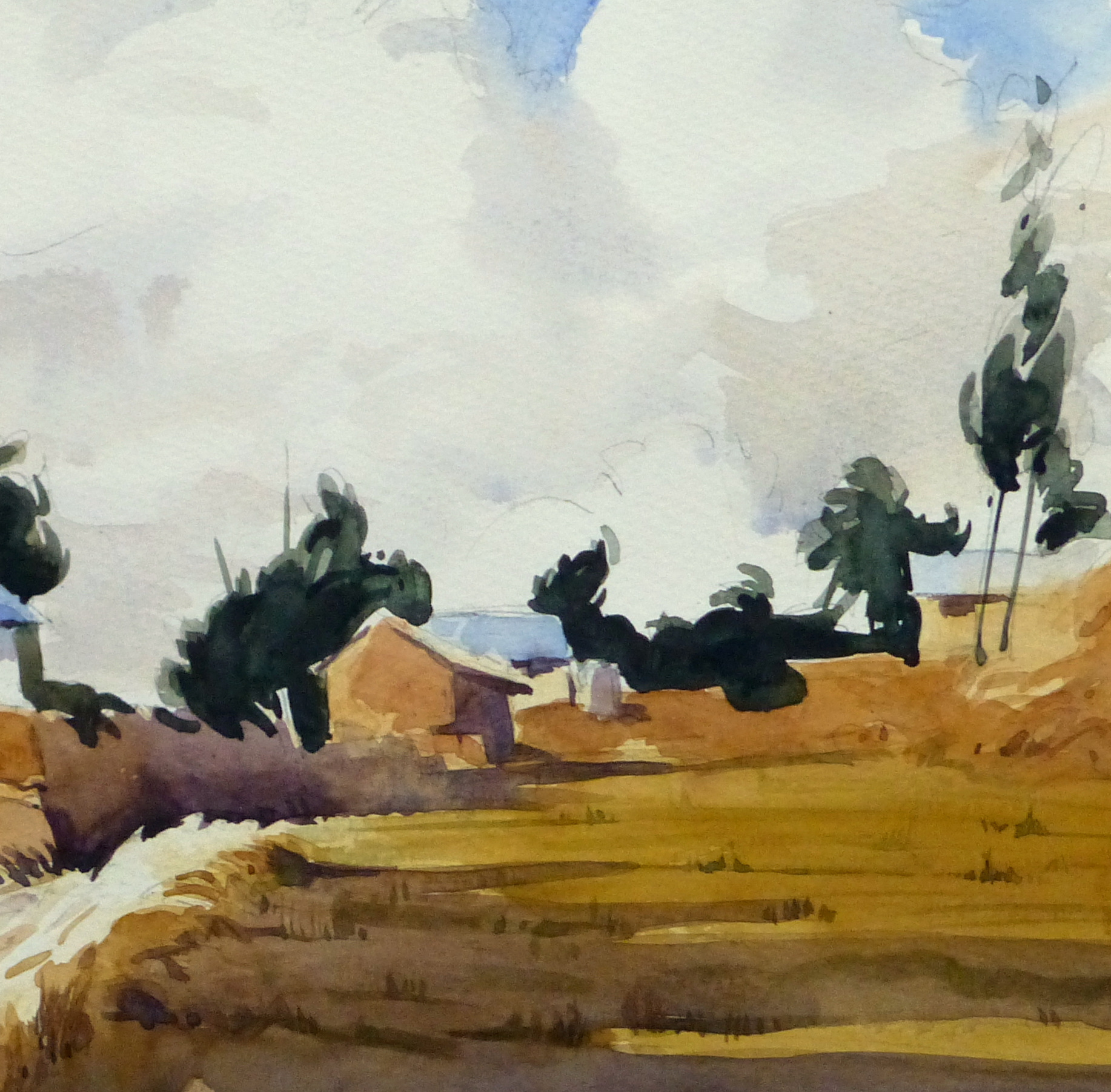 Watercolor Landscape - Rural Village, 2011-detail-10532M