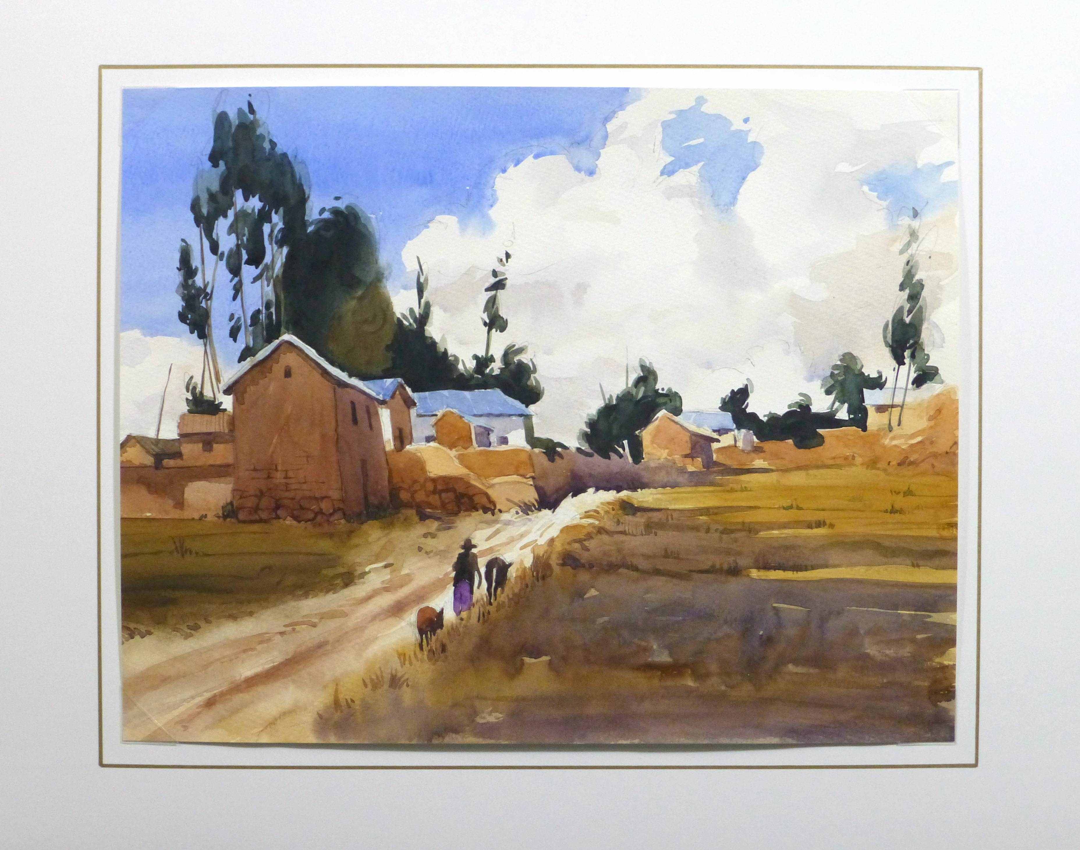 Watercolor Landscape - Rural Village, 2011-matted-10532M