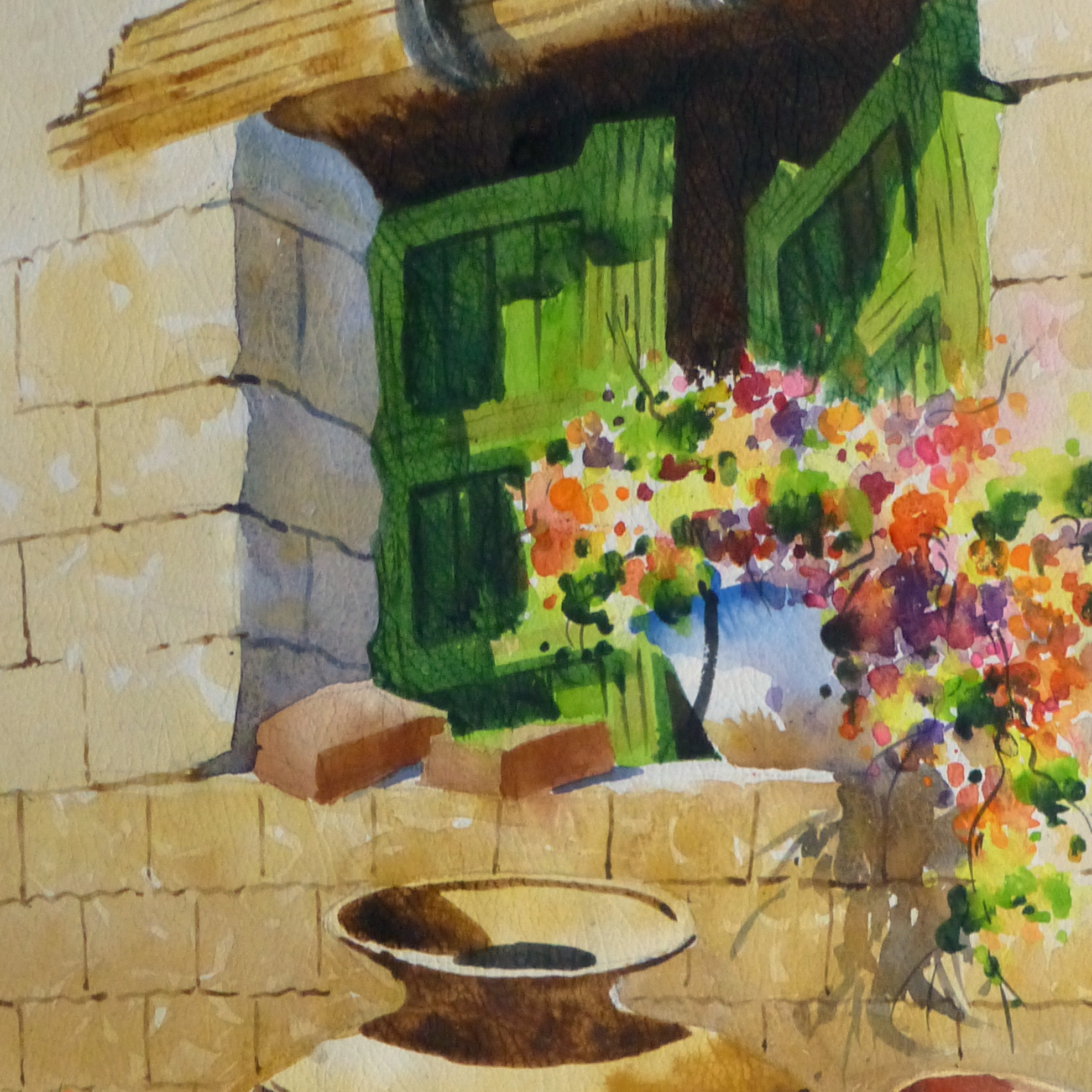 Watercolor Still Life - Peruvian Pottery 2011-detail 2-10533M