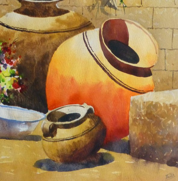 Watercolor Still Life - Peruvian Pottery 2011-detail-10533M