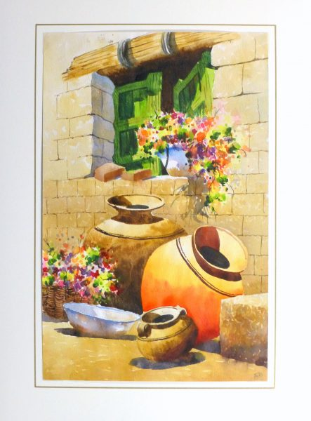 Watercolor Still Life - Peruvian Pottery 2011-matted-10533M