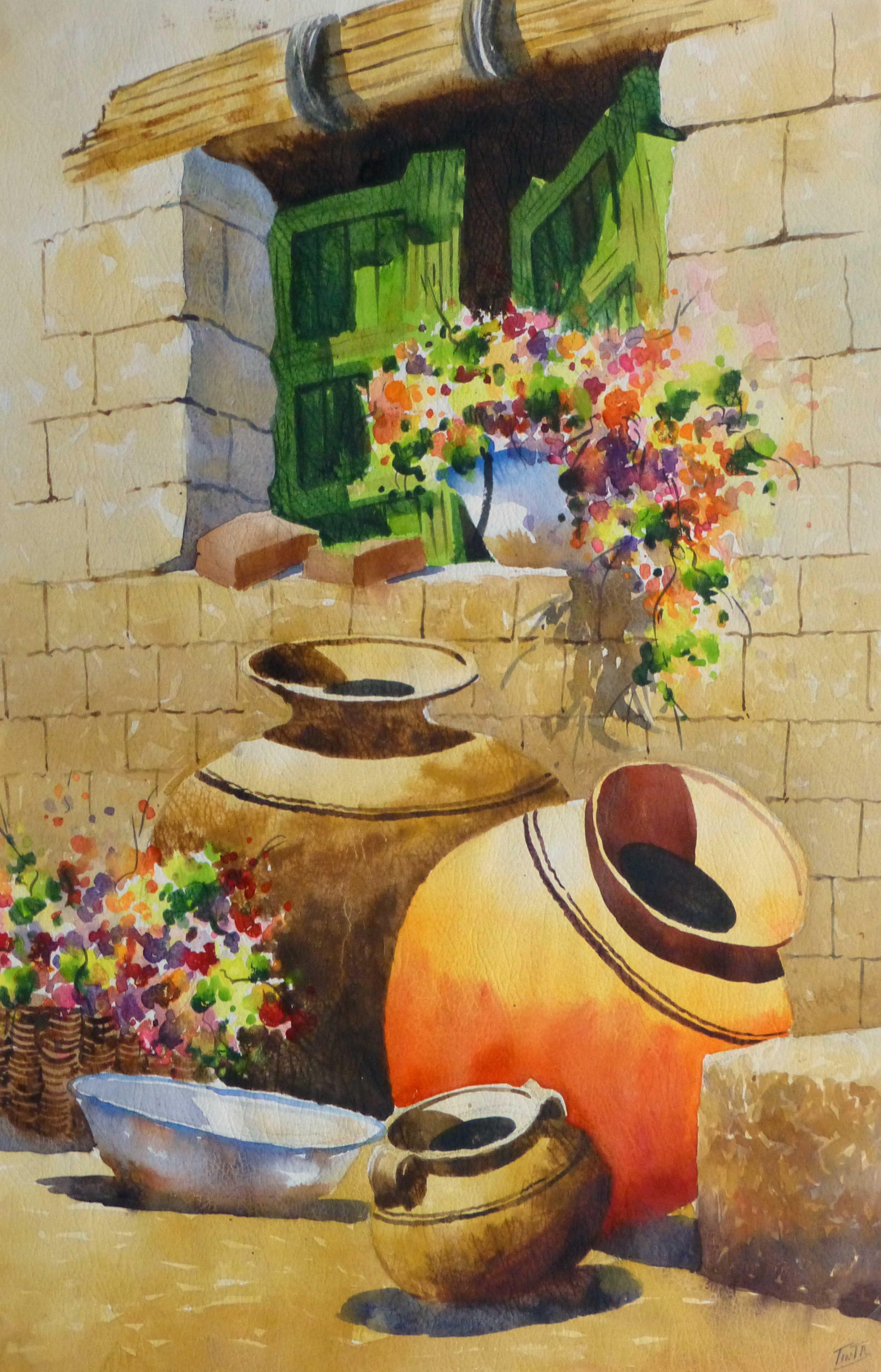 Watercolor Still Life - Peruvian Pottery 2011-main-10533M