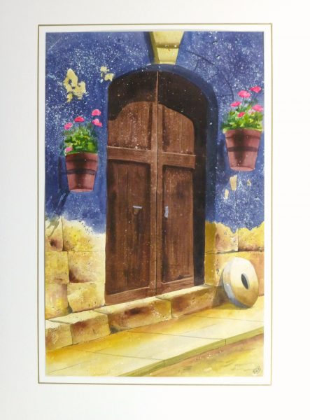 Watercolor Landscape - Rustic Entryway, 2011-matted-10534M