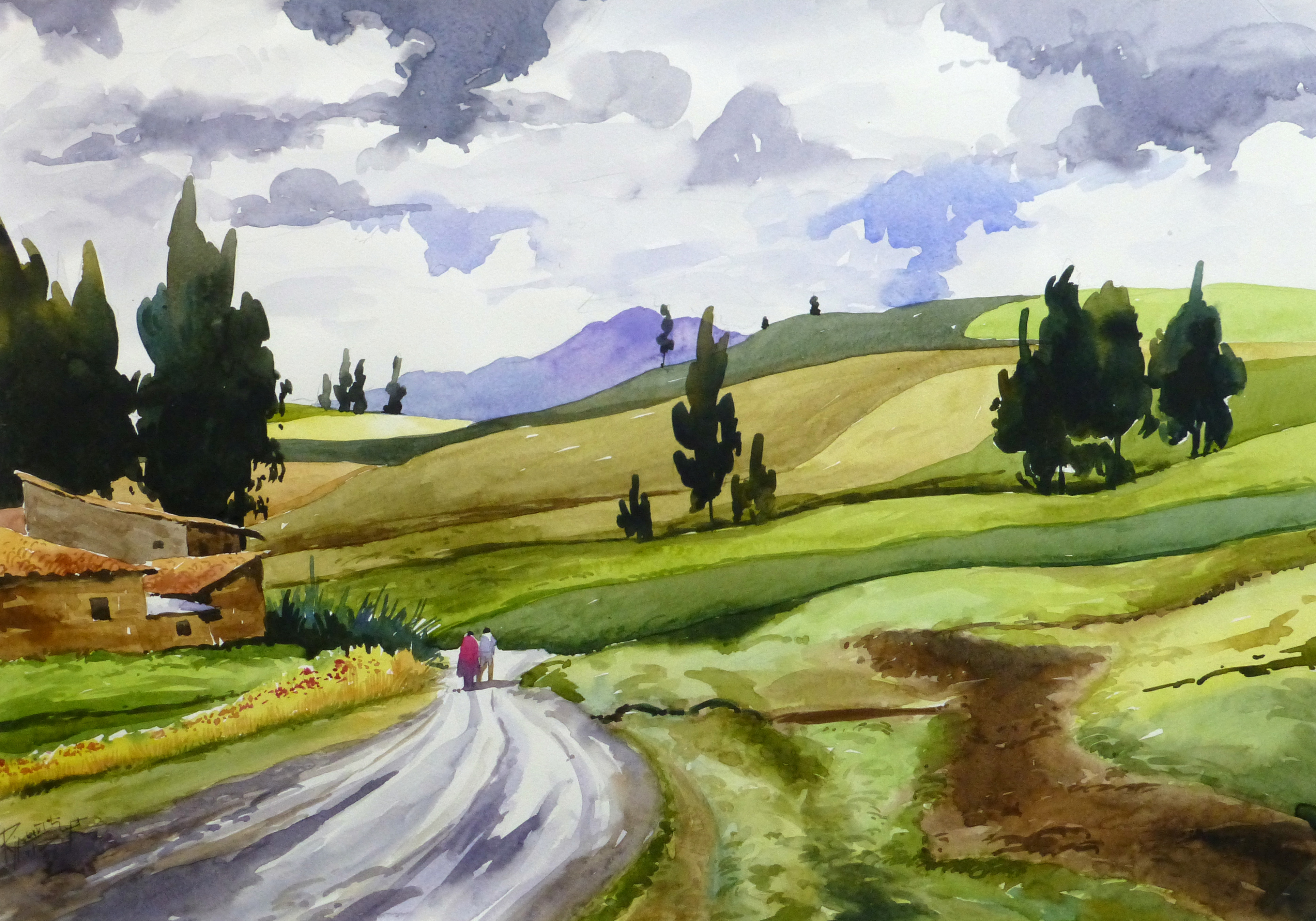 Watercolor Landscape - Afternoon Journey, 2011-main-10535M