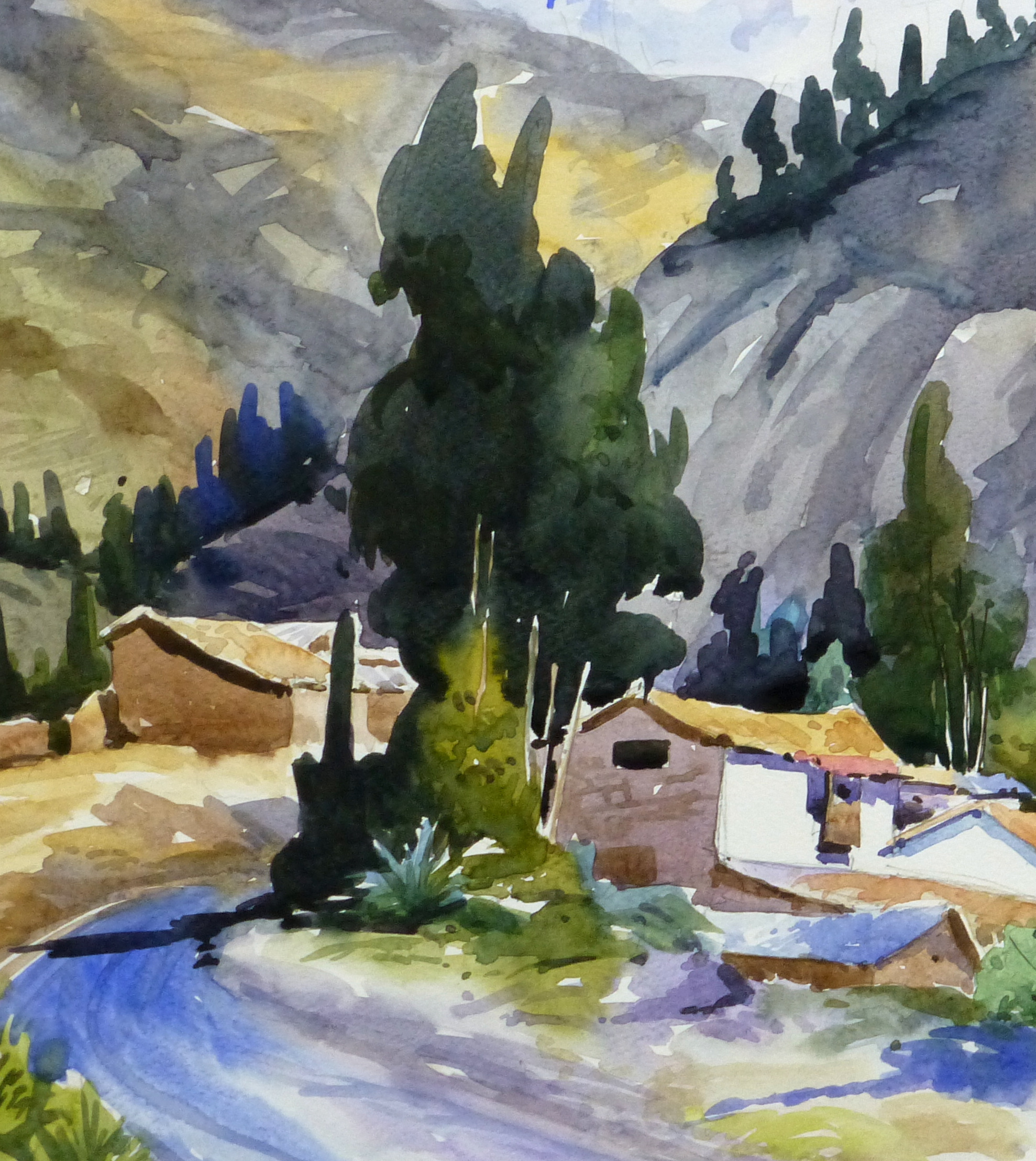 Watercolor Landscape - Mountain Town, 2011-detail 2-10537M