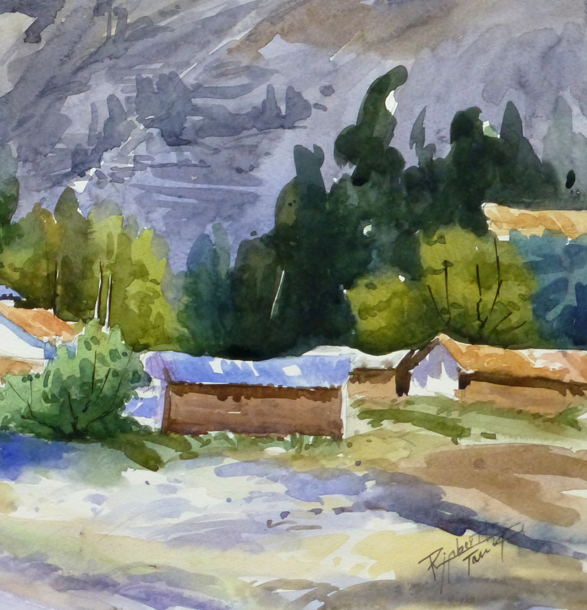 Watercolor Landscape - Mountain Town, 2011-detail-10537M