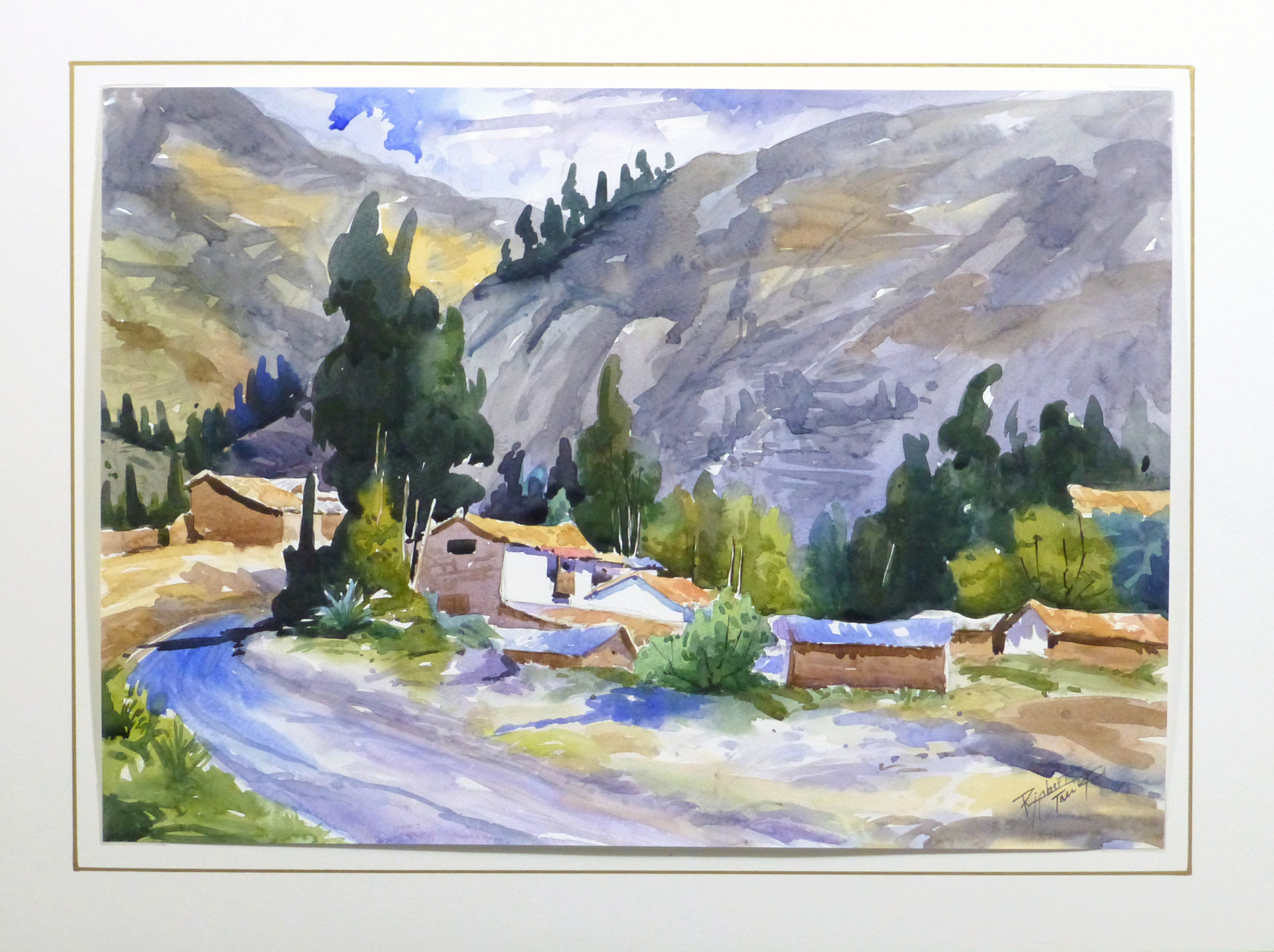 Watercolor Landscape - Mountain Town, 2011-matted-10537M