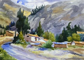 Watercolor Landscape - Mountain Town, 2011-main-10537M